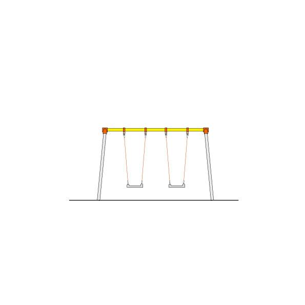 CP-01533 2連幼児用ブランコ(ザイルロープ)