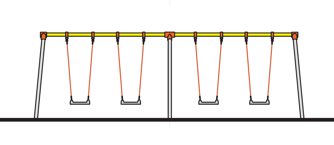 4連幼児用ブランコ(ザイルロープ)